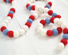Felt Ball Garland - 2 cm Red, White & Blue