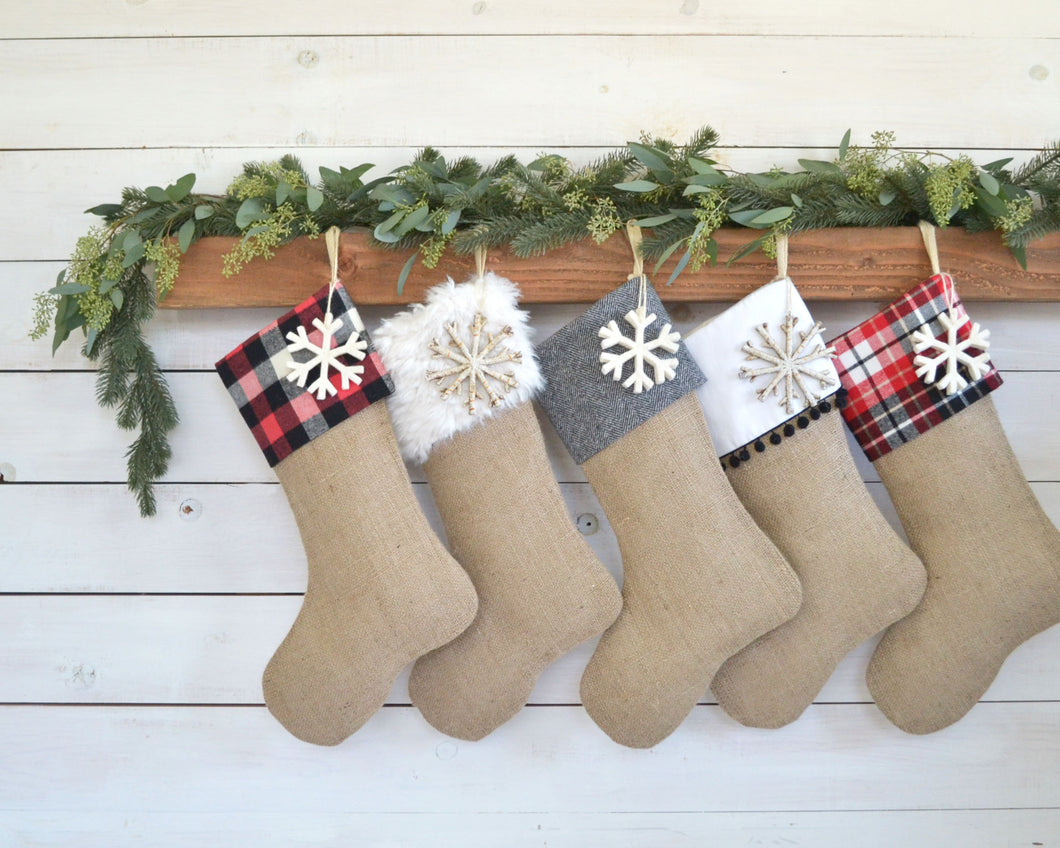 CHRISTMAS STOCKINGS - Set of 5 - Red Woods Burlap Collection