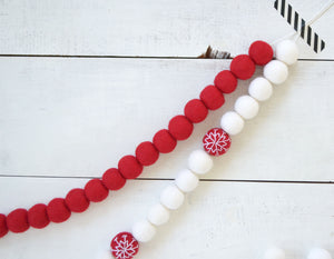 Felt Ball Garland - Red Snowballs