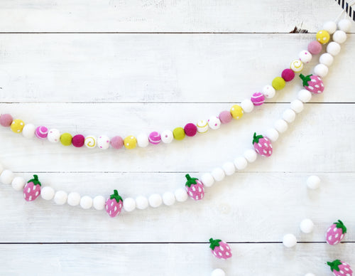 Felt Ball Garland - Strawberry