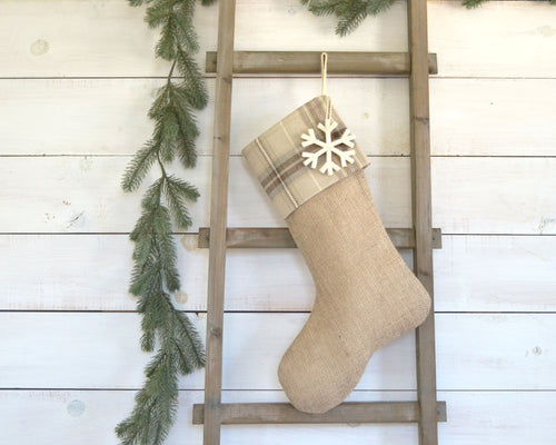 CHRISTMAS STOCKING - Tan, Gray & Brown Plaid and Burlap