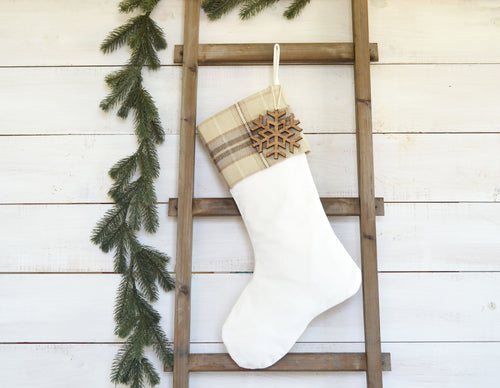 CHRISTMAS STOCKING -Tan, Brown & Gray Plaid and Velvet
