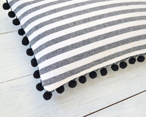 Personalized Striped Pom Pom Pillow Cover
