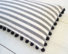 Black and White Striped Pillow Cover with Large Black Pom Pom Trim