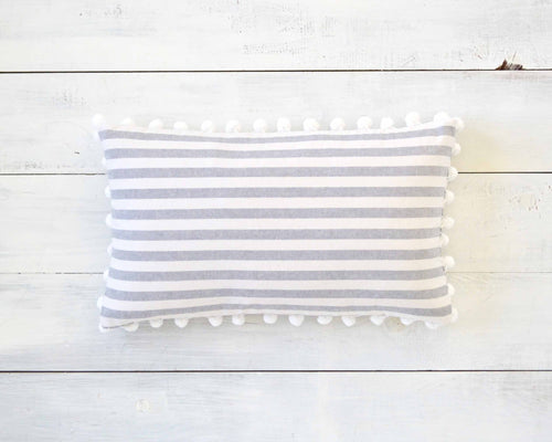 Gray and White Striped Pillow Cover with Large White Pom Pom Trim