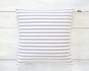 Gray and White Striped Pillow Cover