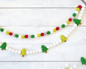 Christmas Tree Felt Ball Garland