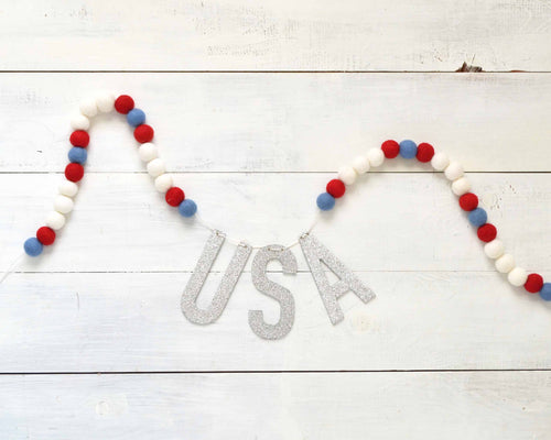 Felt Ball & Letter Garland - 2cm Red, White & Blue