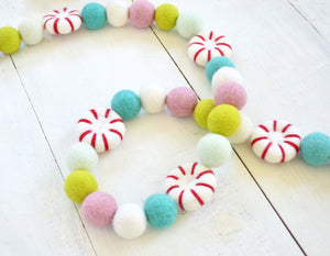 Felt Ball Garland - Whimsical Peppermints