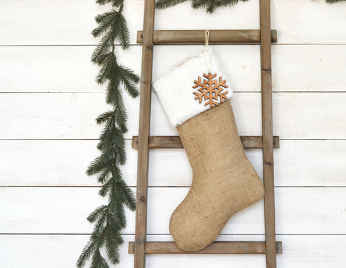 CHRISTMAS STOCKING - White Faux Fur and Burlap