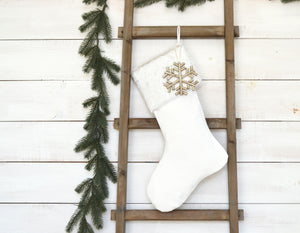 CHRISTMAS STOCKING  - White Faux Fur and Velvet