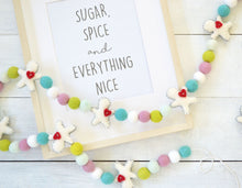 Felt Ball Garland - Whimsical White Gingerbread