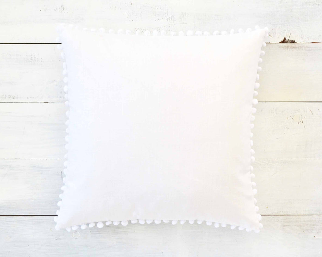 White Pom Pom Pillow Cover