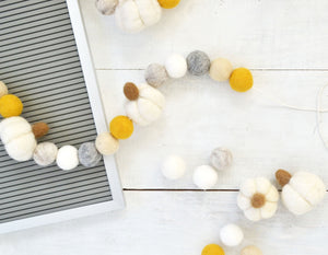Felt Ball Garland - Fall Pumpkins