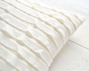 Ruffle Pillow Cover - White