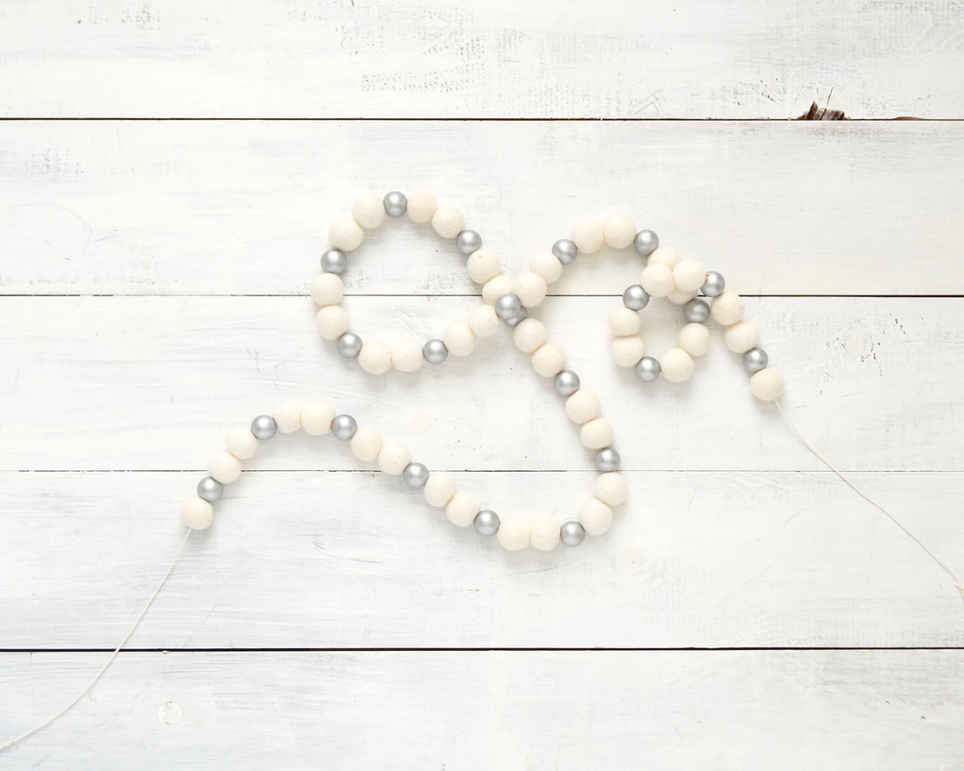 Felt Ball Garland - 2cm White & Silver