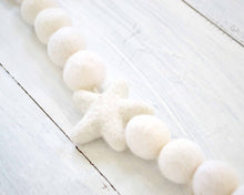 Felt Ball Garland - White with White Stars
