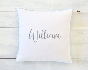 Personalized Embroidered Pillow Cover with Light Blue Pom Pom Trim