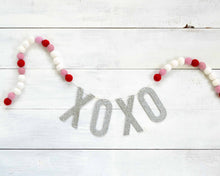 Felt Ball & Letter Garland - 2cm Pink, Red, & White