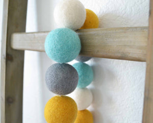 Felt Ball Garland - 4cm White, Aqua, Gray & Mustard Yellow