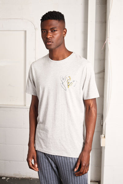 SOLITARY THOUGHT PLACEMENT PRINT AND EMBROIDERY TEE