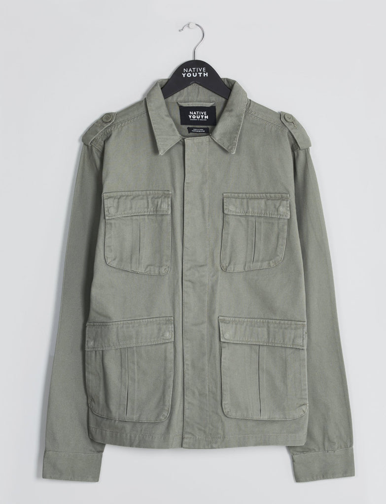 Olive Sharrow 4-Pocket Shirt Jacket