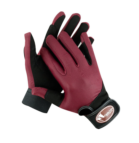 Synthetic Riding Gloves - Burgundy