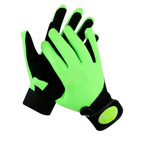 Synthetic Riding Gloves - Lime Green