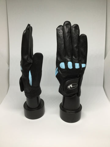 Soft Leather Show Gloves - Blue Detailed