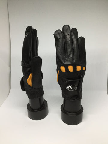 Soft Leather Show Gloves - Orange Detailed