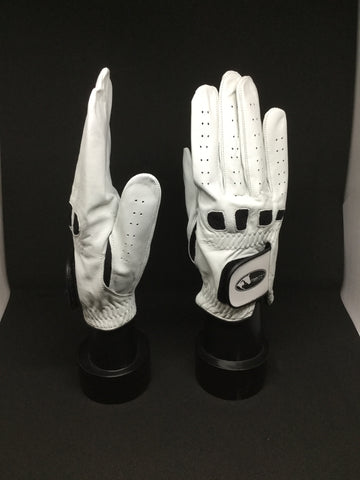Soft Leather Show Gloves - White with Black Detailing