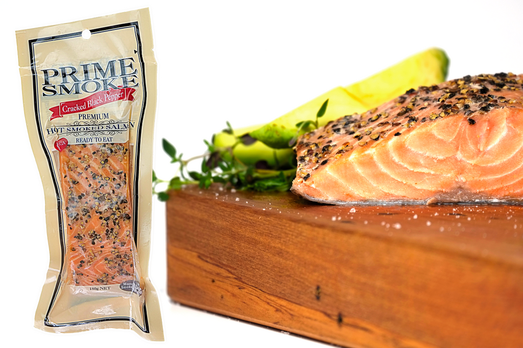 Prime Smoke Hot Smoked Salmon Portion – 180g Peppered-Prime Foods NZ