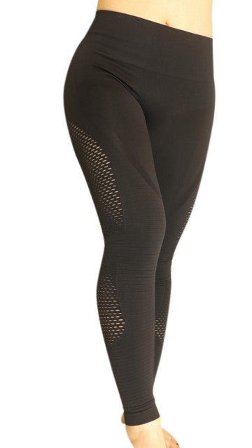 Full Length High Waist Leggings with Cut-Out Design - Jet Black