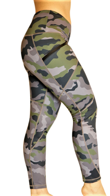 Camouflage Tummy Control Capri Leggings with Side Zipper Pockets