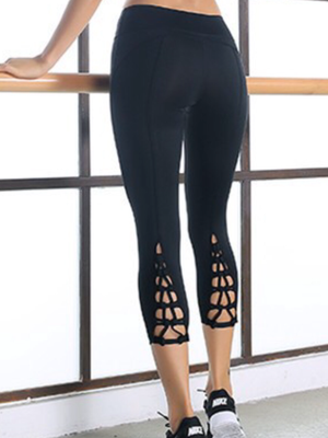 Crisscross Leggings - Petite Sized Women - Jet Black