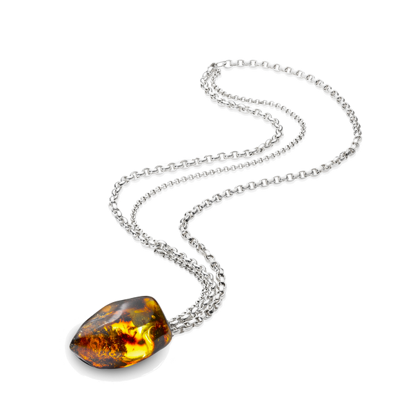 A Handmade Signature Necklace with Big Amber Piece in Cognac and Long Silver Chain