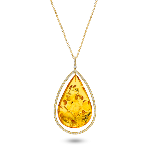 A Dazzling Necklace in 18 Carat Gold, Cognac Amber and 1.06 Ct Brilliants