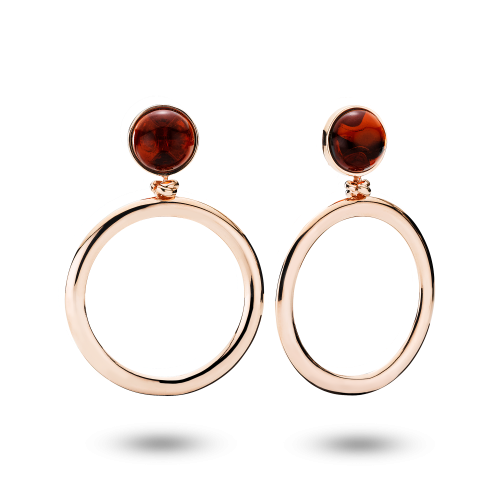 Adorable Earrings in Rose Gold and Cherry Amber