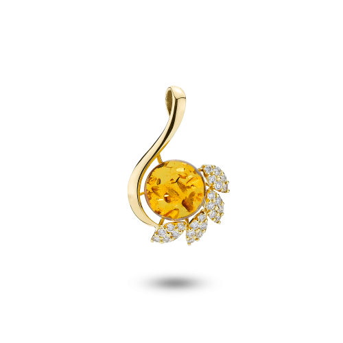 Gold Pendant with Cognac Amber and Diamonds