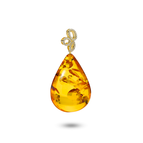 Gold Pendant with Amber and Diamonds