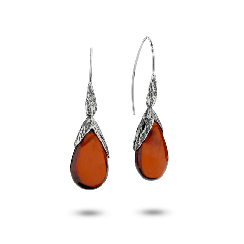 Unique Earrings in Sliver with Cherry Amber