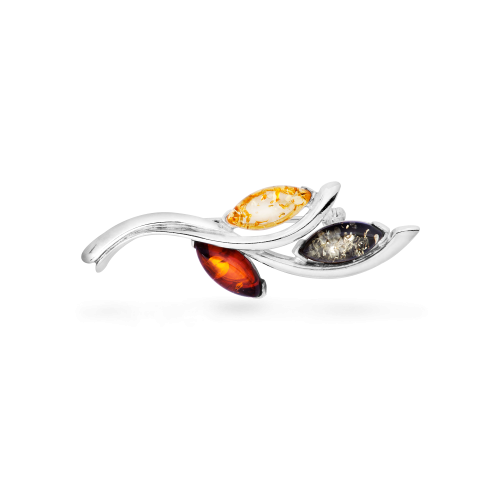 Silver Brooch with Mixed Amber