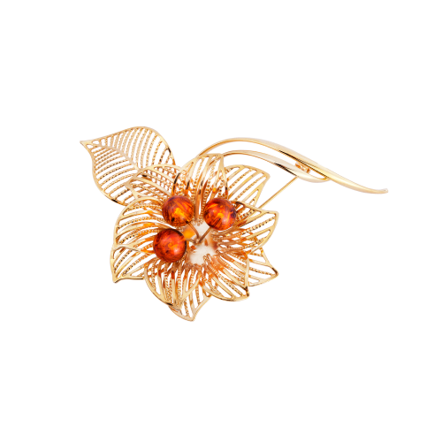 Gold Plated Brooch with Amber