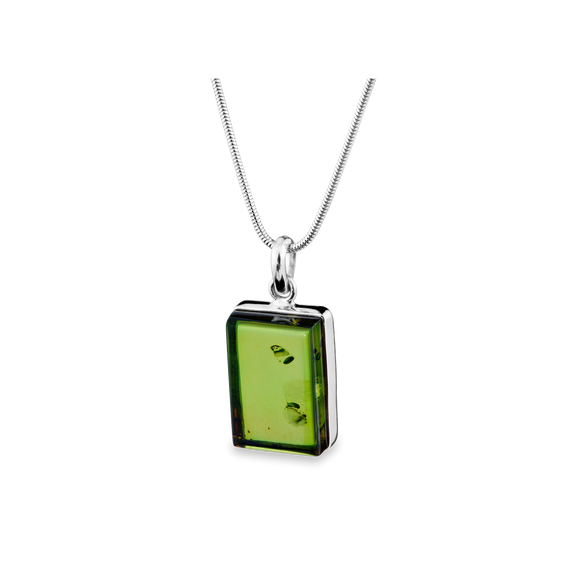 A Beautiful Silver Pendant in Green Amber