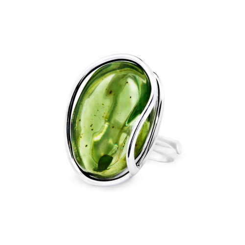 Silver Ring with Green Amber