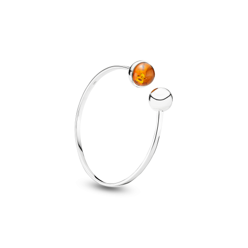 Silver Bangle with Amber