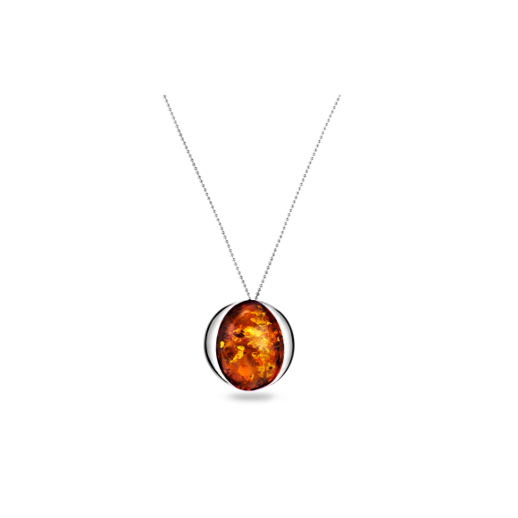 An Exquisite Silver Necklace and Pendant with Marvellous Cognac Amber