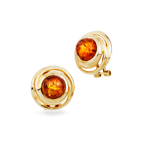Stunning 14 carat Gold Earrings with Cognac Amber