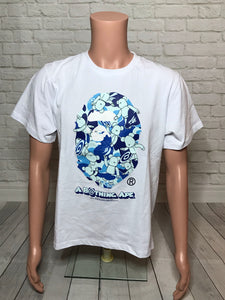 Bape x Medicom Blue Color Camo Ape Head Tee