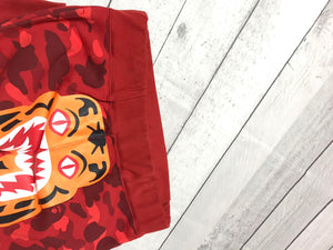 Bape Red Color Camo Tiger Sweatpants